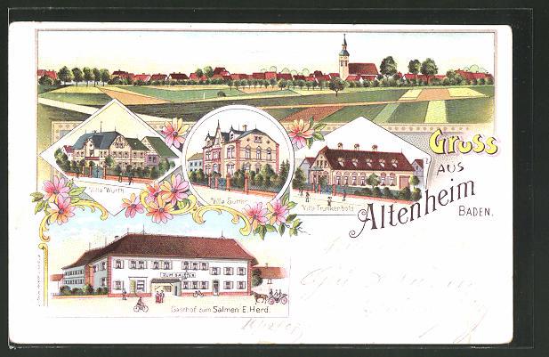 Lithographie Altenheim, Gasthof zum Salmen, Villa Wurth, Villa Sutter, Villa Trunkenbold