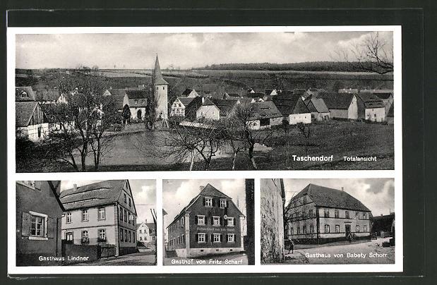 AK Taschendorf, Totalansicht, Gasthaus Lindner, Gasthaus Scharf, Gasthaus Schorr