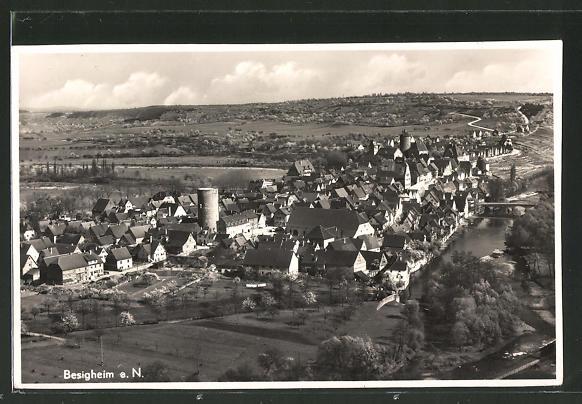 AK Besigheim, Ortsansicht mit Neckarbrücke und alter Stadtturm