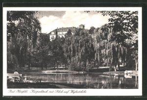 AK Bad Hersfeld, Kurparkteich mit Blick auf Wigbertshöhe
