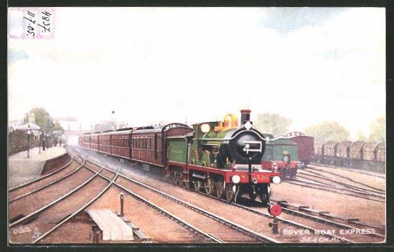Künstler-AK englische Eisenbahn