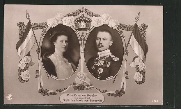 AK Prinz Oskar von Preussen und seine Braut Gräfin Ina Mari von Bassewitz