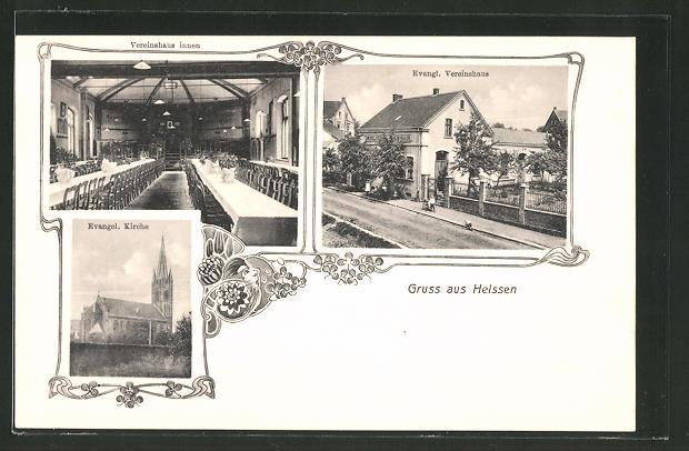 AK Heissen, Evang. Vereinshaus, Evang. Kirche