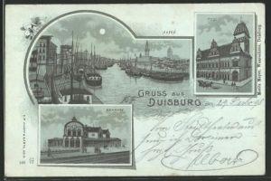 Mondschein-Lithographie Duisburg, Hafen, Post, Bahnhof
