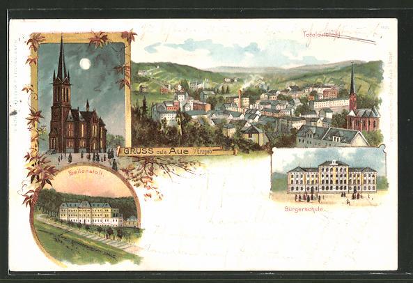 Lithographie Aue, Heilanstalt, Bürgerschule, Blick auf die Kirche bei Nacht
