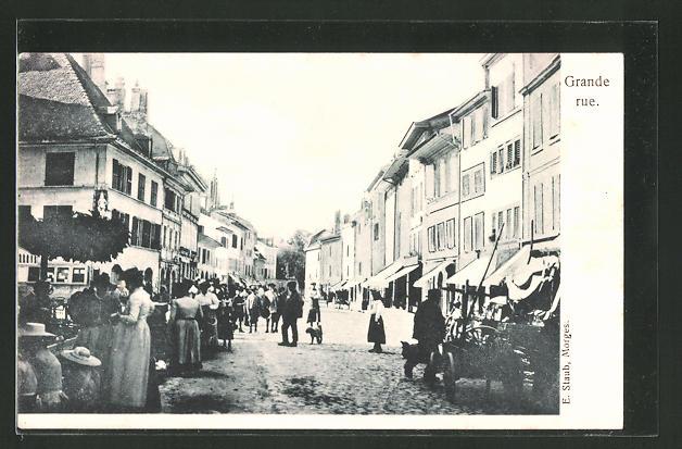 AK Morges, Grande Rue, Strassenpartie