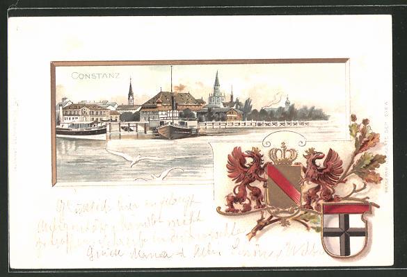 Passepartout-Lithographie Konstanz, Teilansicht, Wappen