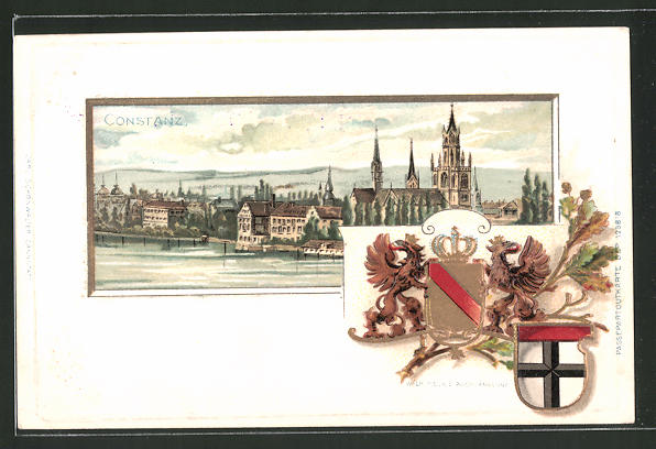 Passepartout-Lithographie Konstanz, Gesamtansicht, Wappen