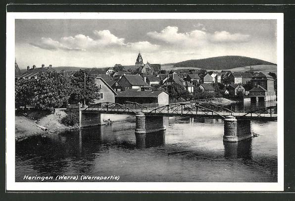 AK Heringen, Ortsansicht mit Brücke über die Werra