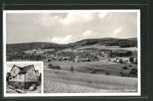 AK Langen-Brombach, Gasthaus zum Odenwald, Ortsansicht