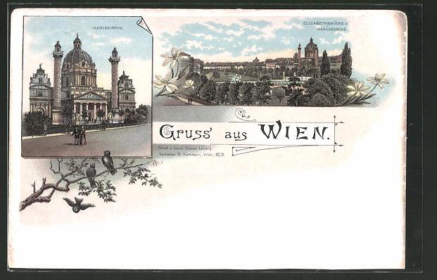 Lithographie Wien, Karlskirche, Elisabethbrücke
