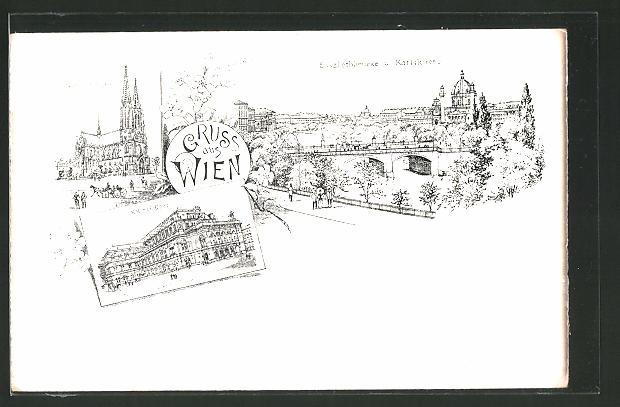 Lithographie Wien, Votiv-Kirche, K. k. Hof-Oper, Elisabethbrücke und Karlskirche