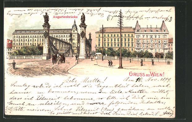 Lithographie Wien, Strassenpartie an der Augartenbrücke
