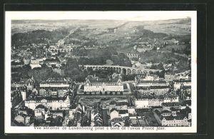 AK Luxembourg, Palais de l'Arbed, Passerelle et viaducs du chemin de fer, Ortsansicht vom Flugzeug aus
