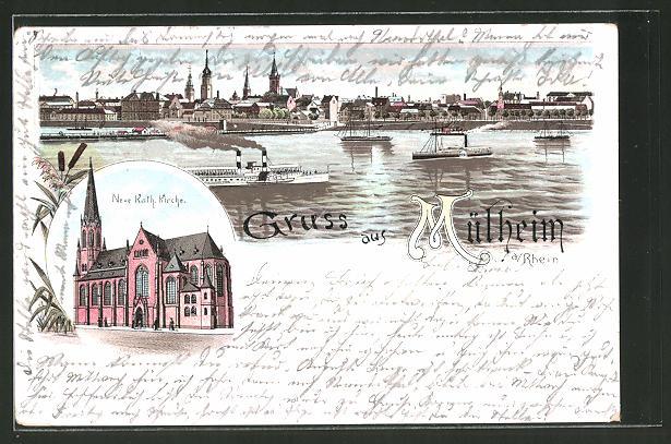 Lithographie Koln Mulheim Totalansicht Neue Kat Kirche Nr
