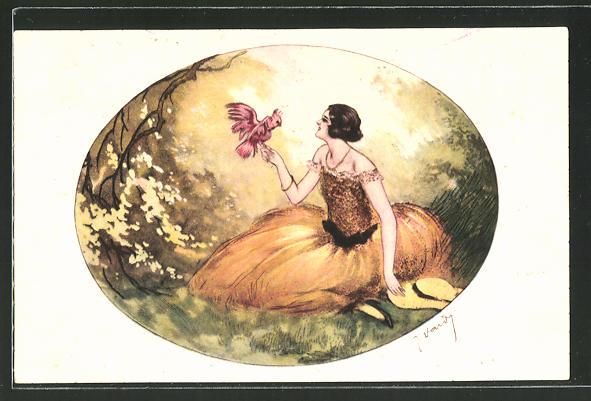 Künstler-AK J. Hardy: Frau im gelben Kleid mit Kakadu