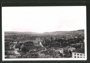 AK Zürich, Teilansicht mit Blick zum Bahnhof