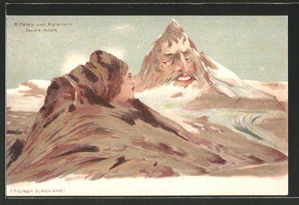 Künstler-AK Killinger Nr. 121: Riffelalp und Matterhorn, Berg mit Gesicht / Berggesichter