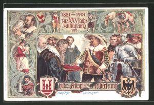 Lithographie Rothenburg, XXV. Aufführung des histor. Festspiels Meistertrunk 1881-1905, Ganzsache Bayern, PP15C89