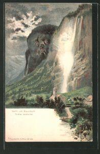 Künstler-AK Killinger Nr. 124: Nacht am Staubbach, Scène nocturne, Berg mit Gesicht / Berggesichter