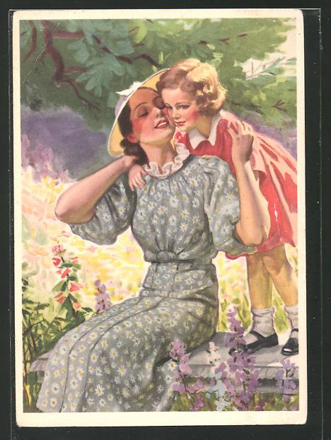 Künstler-AK Reklame für Idanthren Textilfarben, Mutter mit Tochter