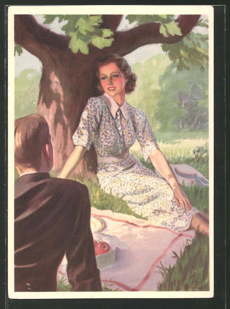 Künstler-AK Reklame für Idanthren Textilfarben, Paar beim Picknick