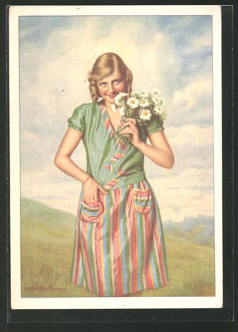 Künstler-AK Reklame für Idanthren Textilfarben, Frau im bunten Kleid