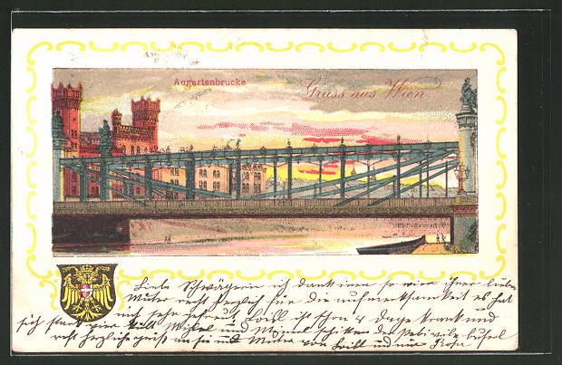 Lithographie Wien, Abendstimmung an der Augartenbrücke