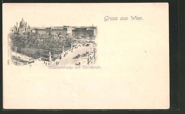 AK Wien, Elisabethbrücke und Karlskirche