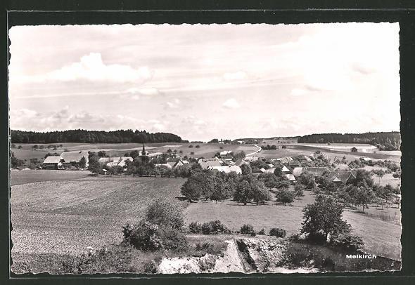 AK Meikirch, Ortspanorama vom Berg aus gesehen