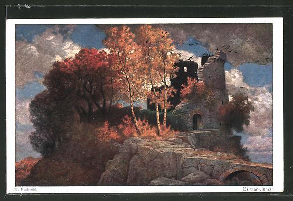 Künstler-AK Hermann Rüdisühli: Es war einmal, Landschaft mit Ruine