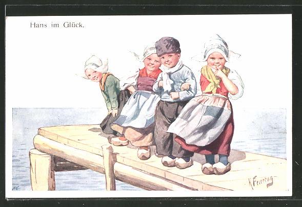 Künstler-AK Karl Feiertag: Hans im Glück, Knabe und Mädchen in Tracht