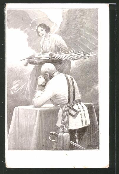 Künstler-AK C. Benesch: Kaiser Franz Josef I. von Österreich und Friedensengel