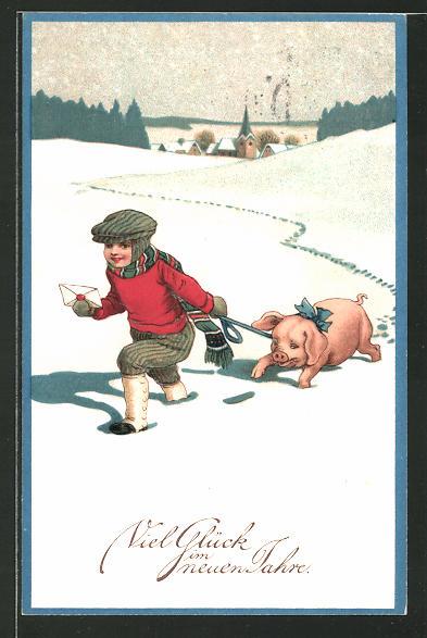 AK Kleiner Junge geht mit einem Schwein durch den Schnee spazieren