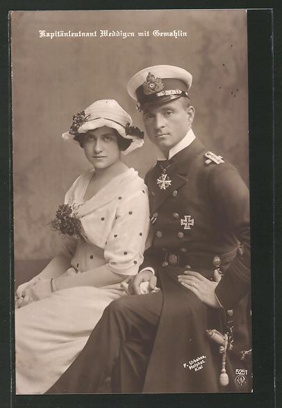 AK Kapitänleutnant Weddigen mit seiner Gemahlin