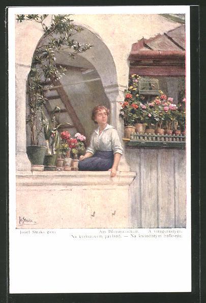 Künstler-AK Josef Straka: Am Blumenbalkon