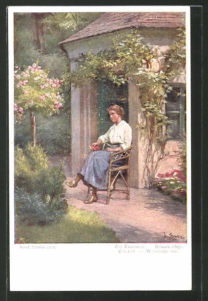 Künstler-AK Josef Straka: Zur Rosenzeit, Fräulein im Garten