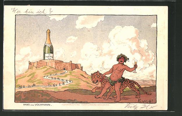 Künstler-AK Hans von Volkmann: Reklame für Sekt Kupferberg Gold, Jüngling mit einem Jaguar