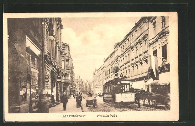 AK Saarbrücken, Strassenbahn auf der Victoriastrasse