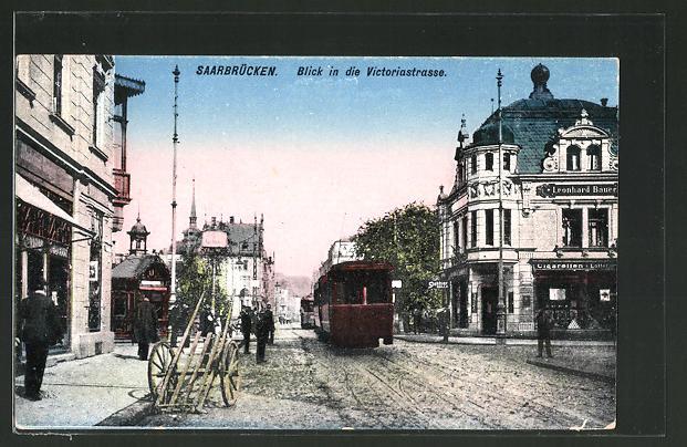 AK Saarbrücken, Blick in die Victoriastrasse, Strassenbahn