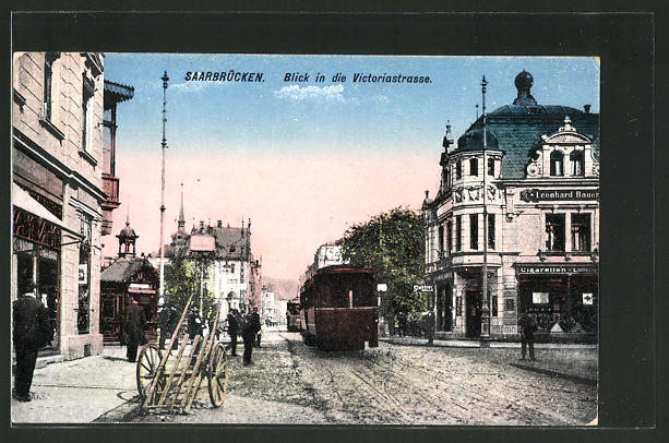 AK Saarbrücken, Victoriastrasse mit Strassenbahn