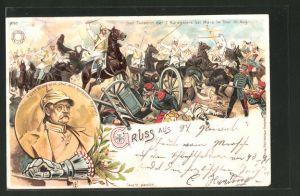 Lithographie Der Todesritt der 7. Kürassiere bei Mars la Tour 16. August, Portrait von Fürst Otto von Bismarck
