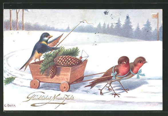 Künstler-AK C. Öhler: Vögel mit kleiner Kutsche im Winter