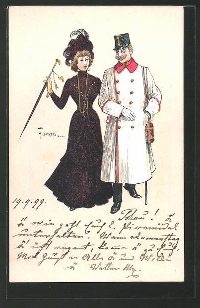 Künstler-AK F. Gareis: Mondänes Paar mit Mann in Uniform läuft Arm in Arm