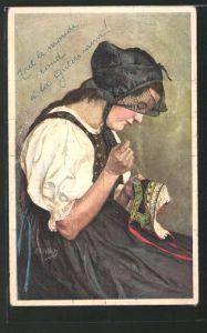 Künstler-AK Curt Liebich: Frau in Tracht beim Nähen