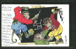 Künstler-AK Meggendorfer Blätter, vermenschlichte Affen treiben Unfug als Schüler
