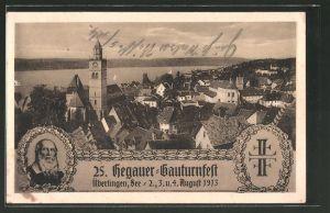 AK Überlingen, 25. Hegauer-Gauturnfest 1913, Teilansicht, Turnvater Jahn