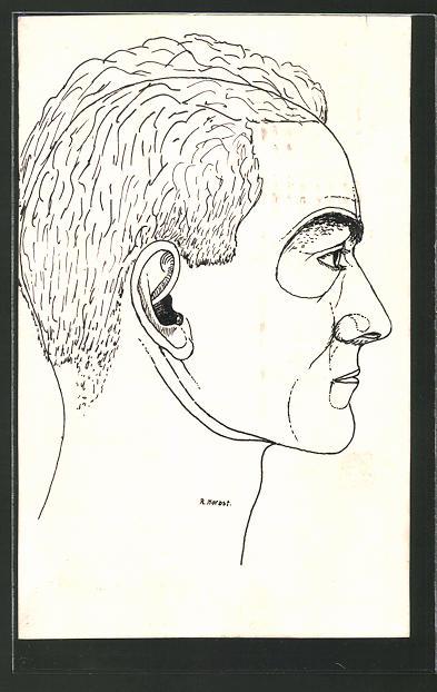 Künstler-AK Handgemalt: Portrait eines Mannes, Ansicht im Profil