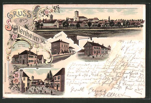 Lithographie Sufflenheim, Bahnhof, Gasthaus zur Post, Gasthaus zur Krone, Totalansicht
