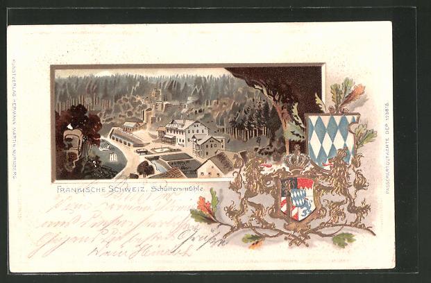 Passepartout-Lithographie Schüttersmühle, Totalansicht aus der Vogelschau, Wappen